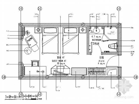 时尚会所标准客房室内装修施工图(含效果)