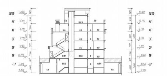 [福建]高层大尺度院落塔式沿海住宅建筑设计方案文本-高层大尺度院落塔式沿海住宅建筑剖面图