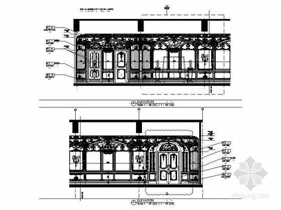 [南通]白金五星级酒店奢华欧式法国厅贵宾室CAD装修图贵宾室立面图