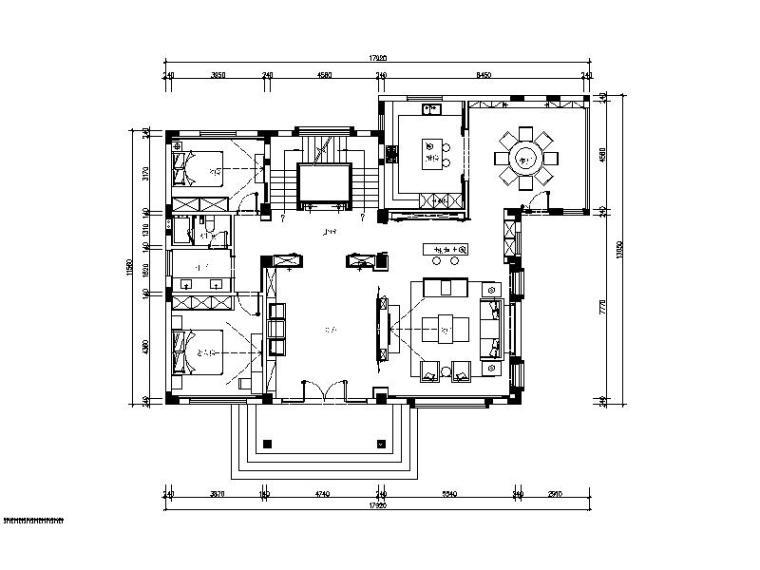 [杭州]新中式四层别墅装修设计施工图(含实景图)