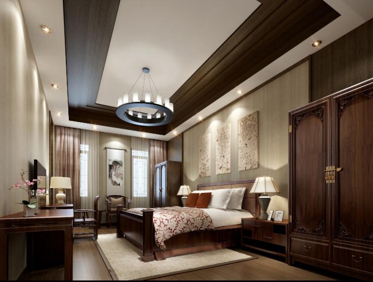 某中式二层别墅室内设计施工图(含效果图,施工图JPG)-二层套房效果图