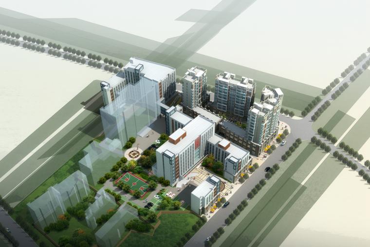 现代风格人民医院建筑设计(CAD+文本).-鸟瞰图