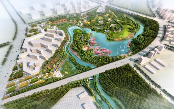 [山西]滨河崖壁生态立体化湿地公园景观设计方案-景观鸟瞰效果图