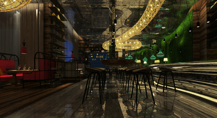 [新疆]富有文化气息而又时尚鲜活的餐厅设计施工图(含效果图)_2
