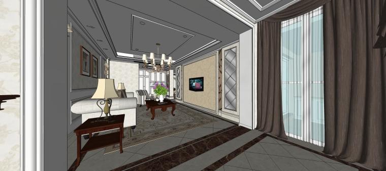 室内设计简欧风格客餐厅SU模型-09.客厅