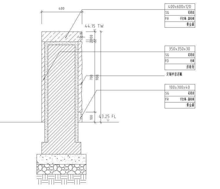 剖面图二-特色精品景观墙详图设计 钢筋混凝土结构