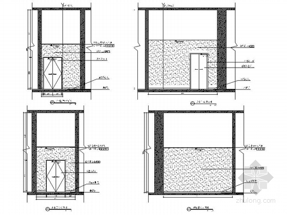 [深圳]高端商务核心区现代科技大厦室内装修图(含效果)合用前室立面图