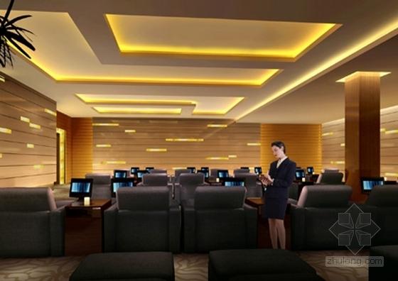 [江苏]历史文化名城高档现代风格星级宾馆装修施工图(含效果)dwg .zip休息室效果图