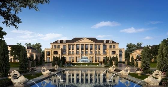 高层欧式古典风格住宅区规划效果图
