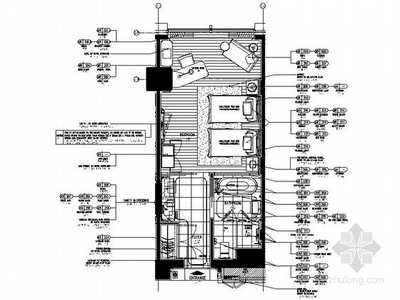 [湖南]现代时尚商务酒店标准间客房施工图