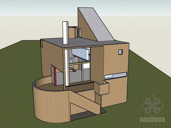 名师工作室兼住宅建筑SketchUp模型