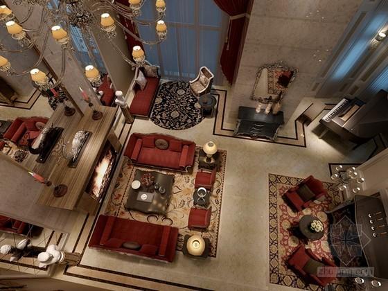 古典风格别墅客厅3d模型下载