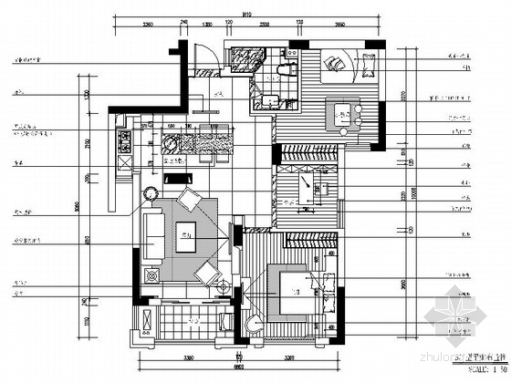[杭州]现代简约三居室样板间装修图(含效果)