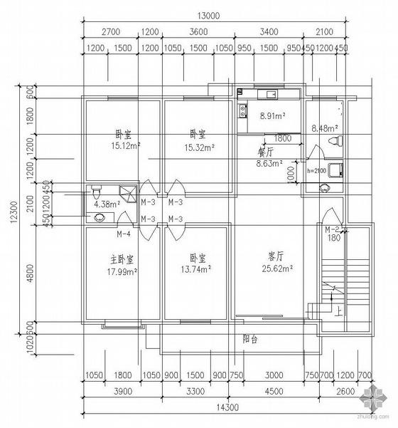 板式多层一梯二户五室三厅三卫有跃层户型图(201/201)
