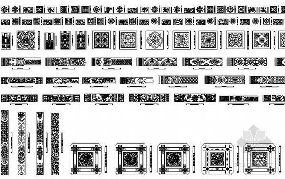 中式古典木刻雕花图块
