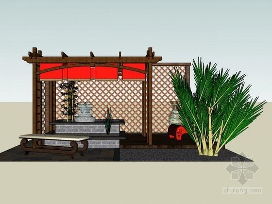 中式花园休闲廊架sketchup模型