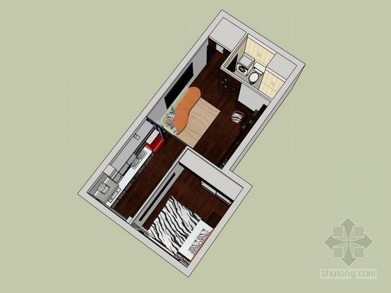 单身公寓sketchup模型