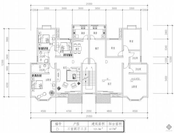 板式多层一梯二户三室二厅三卫户型图(121/121)