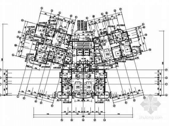 某高层住宅二梯五户型平面图