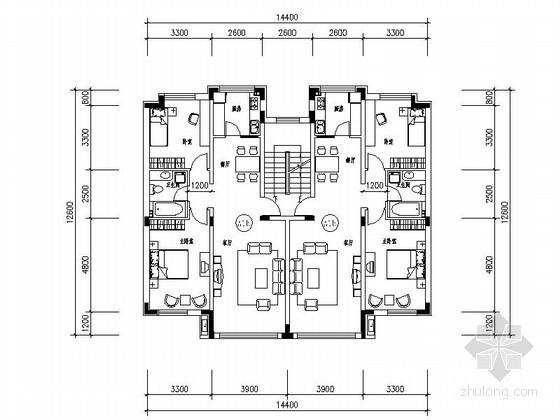 [长春]某花园住宅区多层板式户型平面图
