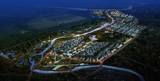 现代风格城市核心片区规划设计方案鸟瞰图