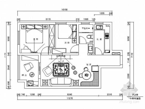 精品清新现代风格两居室室内装修设计施工图(含效果)