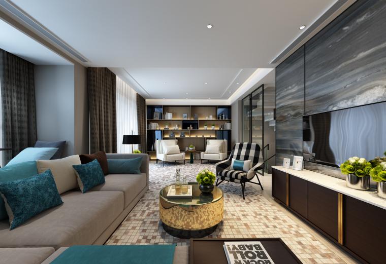 欧式奢华沙发3D模型资料下载-现代奢华样板间客厅设计3D模型(附效果图)