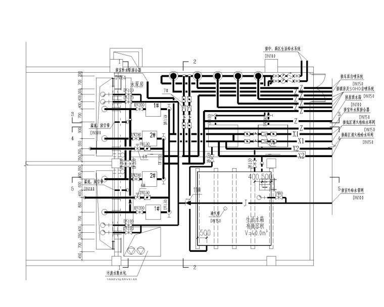 [甘肃]高层建筑给排水施工图(含给排水平面及系统,消防平面及系统,水泵房及卫生间大样等)