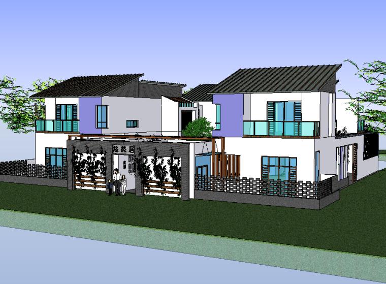 四合院会所建筑模型设计