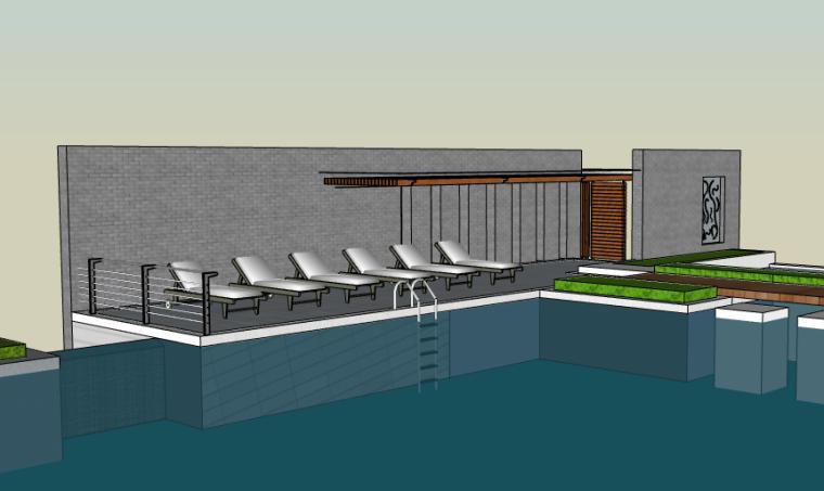 无边际泳池设计方案SU建筑模型(现代风格)