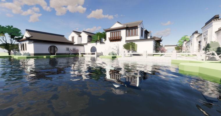 绿城风中式别墅建筑模型设计(2018年)