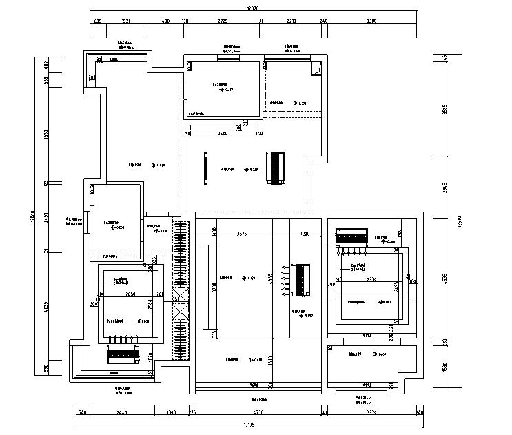 【江苏】简洁黑白灰空间样板房设计施工图(附效果图)_1