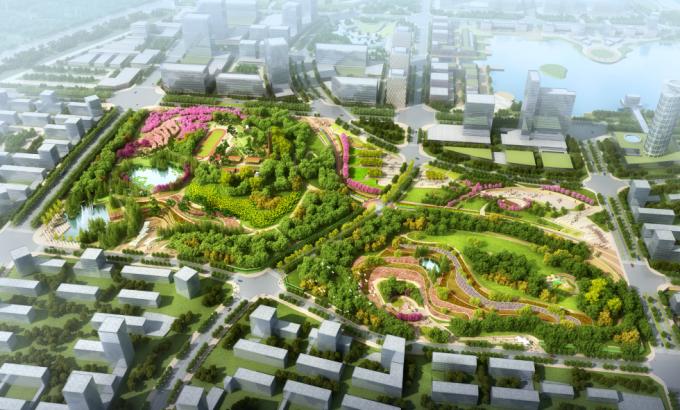 [安徽]生态人文气息流线型山体高差森林公园景观设计方案-景观鸟瞰效果图