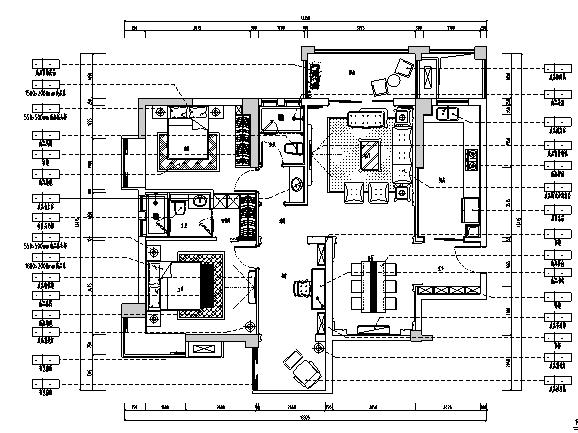 [湖北]欧式风格别墅样板房室内设计施工图(含效果图)