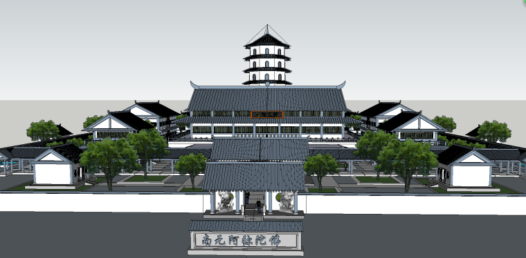 寺庙园林建筑模型(SU模型)-2