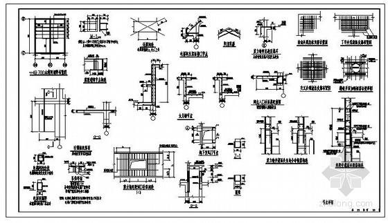 某剪力墙洞口补强、电梯、水箱节点构造详图