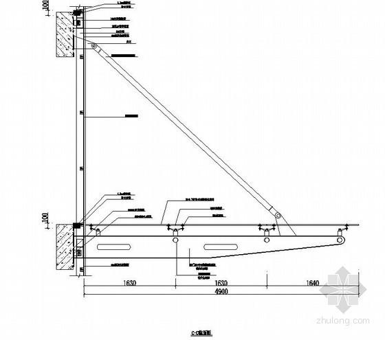 某弧形点式雨棚节点详图