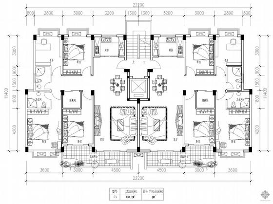 板式高层一梯两户户型图(134/134)