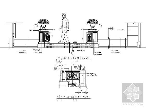 欧式古典客厅跃式踏级详图