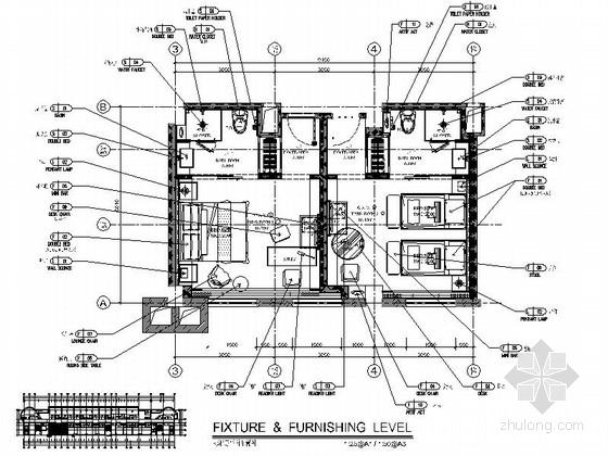 [福建]简洁舒适酒店式公寓样板间室内施工图(含效果图)