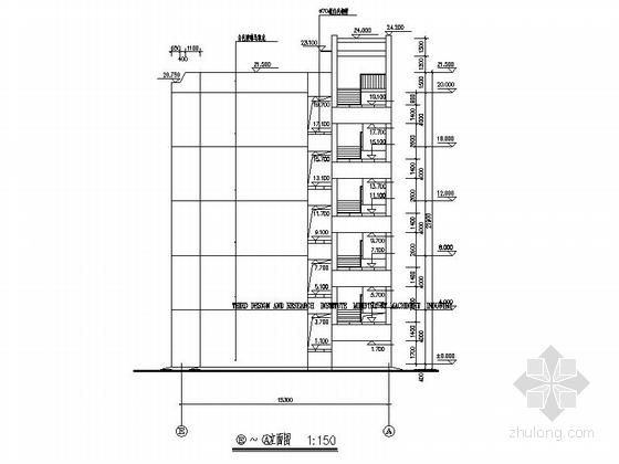 [福建]五层框架结构玻璃幕墙高等院校教学楼建筑施工图-五层框架结构玻璃幕墙高等院校教学楼建筑立面图