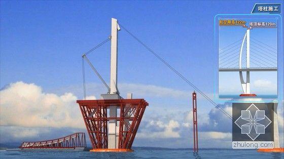 世界级跨海大桥工程标准化施工及管理三维动画演示(20分钟画面高清)-塔柱施工