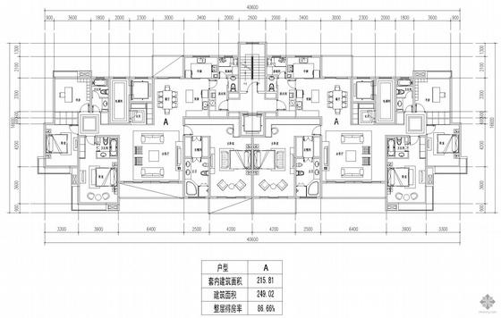 板式高层一梯二户户型图(216/216)