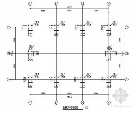 单层钢结构厂房结构施工图(12米跨 柱下独立基础)