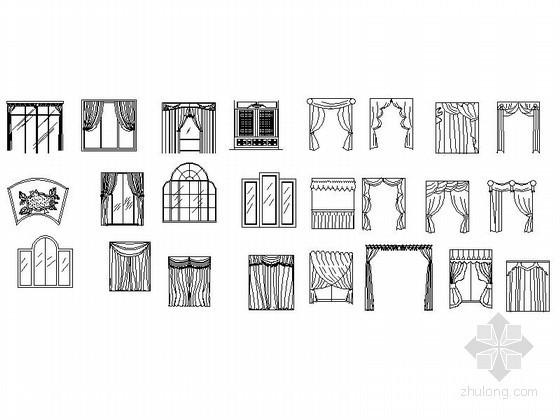 ins风格装修店面资料下载-各式风格窗帘立面图CAD图块下载