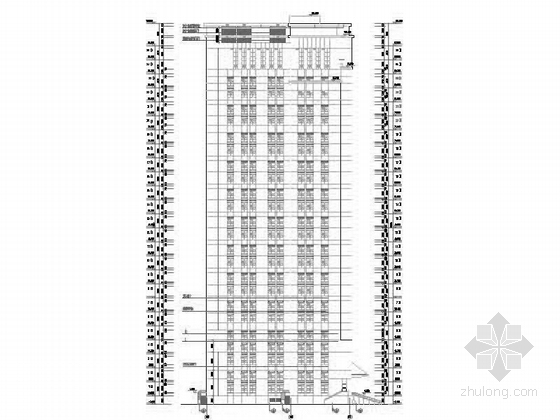 [深圳]25层现代风格办公大厦建筑设计施工图(知名设计院含效果图)-25层现代风格办公大厦建筑设计立面图