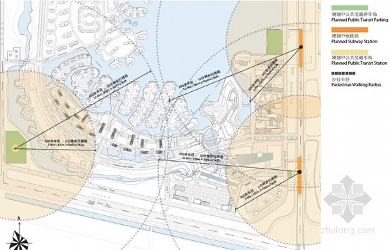 城市滨水地块规划分析图
