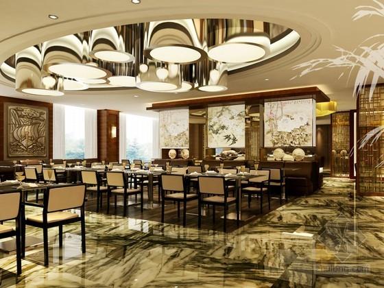 现代中式餐厅3D模型下载