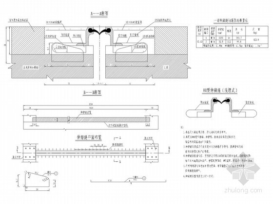 桥梁D80型伸缩缝构造通用图