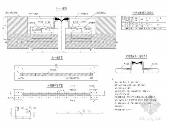 U型槽钢筋构造图资料下载-桥梁D80型伸缩缝构造通用图